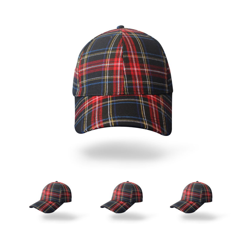 Checked fabric baseball cap